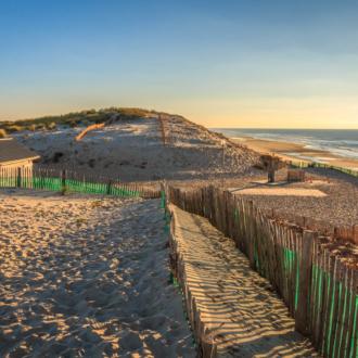 Coucher de soleil sur la plage d'Hourtin