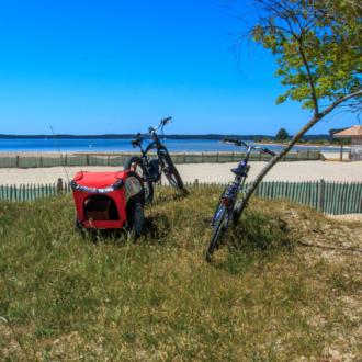 Balade à vélo sur le port d'Hourtin en Gironde
