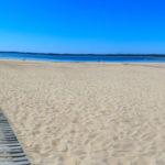 Panoramique face à la plage du port de Hourtin