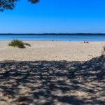 Baignade sur la plage de l'ile de la Banane à Hourtin